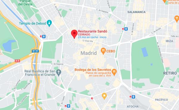 Plano google Restaurante Sandó